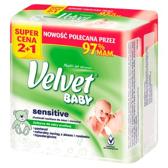 Velvet Baby Sensitive Wet Wipes for Babies and Infants 3 x 64 Pieces
