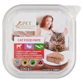 Tesco Pet Specialist Pate with Veal Turkey and Vegetables Food for Adult Cats 100 g