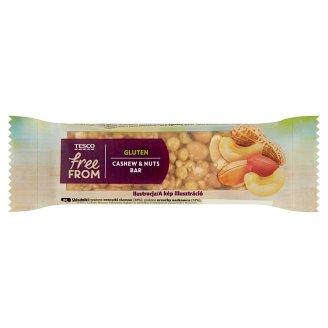 Tesco Free From Baton z prażonych orzeszków ziemnych orzechów nerkowca oblany czekoladą 35 g