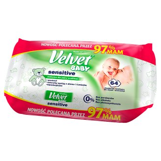 Velvet Baby Sensitive Wet Wipes for Babies and Infants 64 Pieces