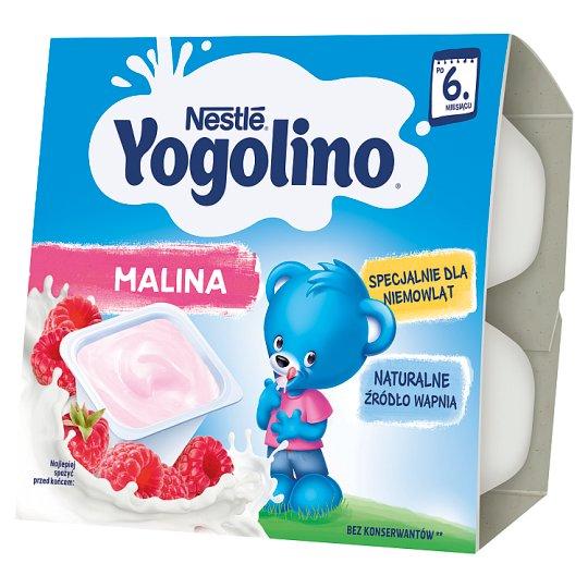Nestlé Yogolino Deserek mleczno-owocowy malina po 6 miesiącu 400 g (4 x 100 g)