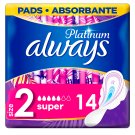 Always Platinum Sanitary Towels Wings Ultra Long Plus (Size 2) 14 Pads