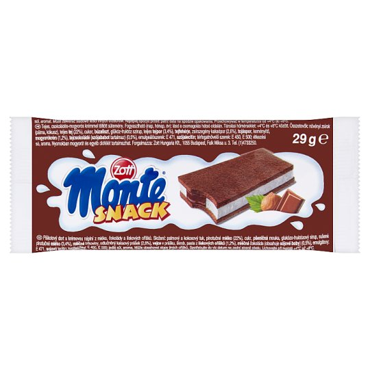 Zott Monte Snack Biszkopt z kremem mlecznym i czekoladowo-orzechowym 29 g