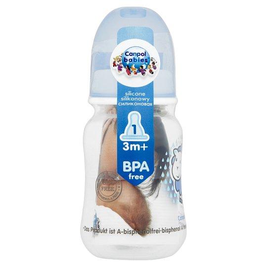 Canpol Babies Fľaša s potlačou modrá 3m+ 120 ml