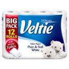 Veltie Pure & Soft White Toilet Paper 3 Plies 12 Rolls