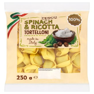 Tesco Tortelloni Egg Pasta Stuffed with Ricotta Cheese and Spinach 250 g