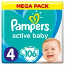 Pampers Active Baby Size 4, 106 Nappies, 9-14 kg