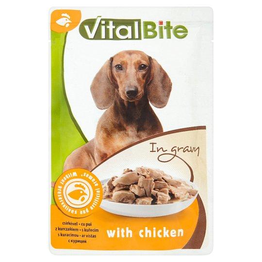 VitalBite Kompletné krmivo pre dospelé psy s kuracinou v omáčke 85 g