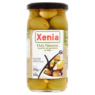Xenia Zelené olivy plnené mandľou v slanom náleve 355 g