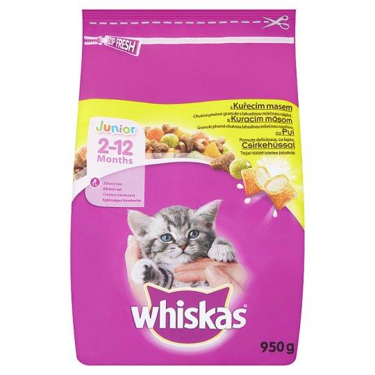Whiskas Junior Granule plnené chutnou lahodnou mliečnou náplňou s kuracím mäsom 950 g