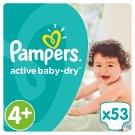 Pampers Active Baby-Dry detské jednorazové plienky, veľkosť 4+ Maxi+, 53 kusov