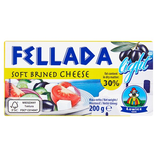 Lowicz Fellada 30% Soft Semi-Fat Cheese Salty Light 200 g
