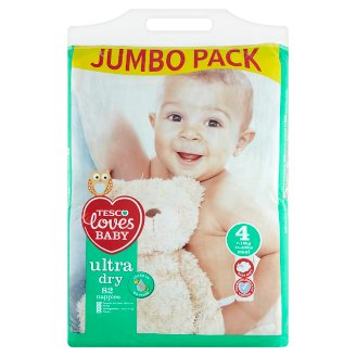 Tesco Loves Baby Ultra dry plienky 4 maxi 82 ks