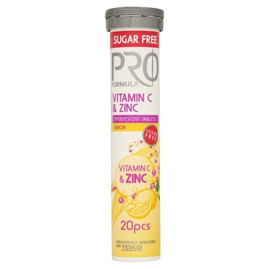 Tesco Pro Formula Šumivé tablety s vitamínom C a zinkom s príchuťou citróna 20 tabliet 80 g