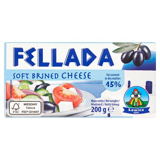 Lowicz Fellada 45% Soft Semi-Fat Cheese Salty 200 g