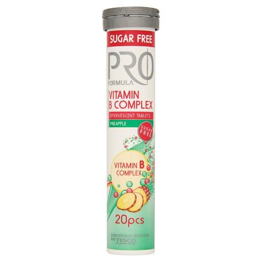 Tesco Pro Formula Šumivé tablety s vitamínom B s príchuťou ananásu 20 tabliet 80 g