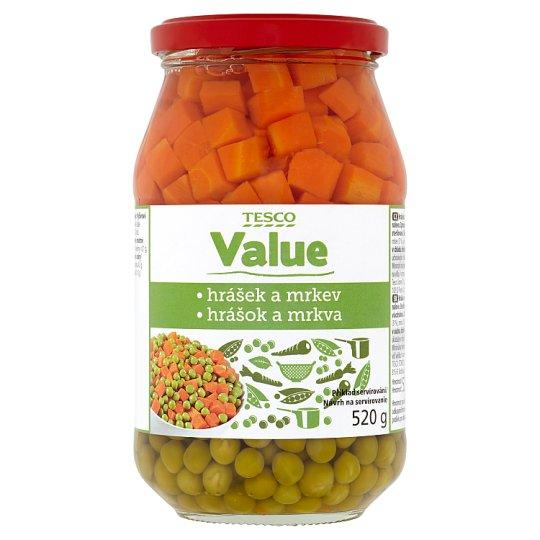 Tesco Value Hrášok s mrkvou v sladkokyslom náleve 520 g
