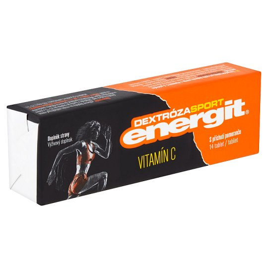 Energit Dextróza Sport Výživový doplnok vitamín C s príchuťou pomaranča 14 tabliet 49 g