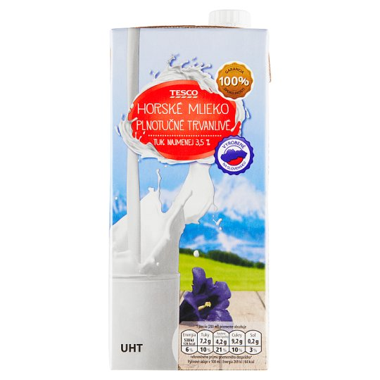 Tesco Mountain Long-Life Full-Fat Milk 3.5 % 1 L