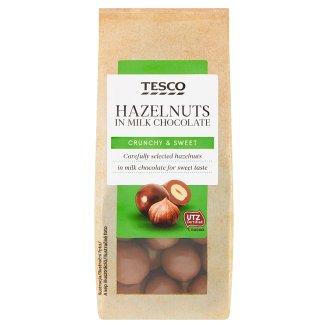 Tesco Lieskové oriešky jadrá pražené v mliečnej čokoláde 150 g