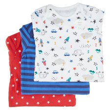image 1 of F&F Fred & Flo Boy's Star Points with Long Sleeves, 3 pcs in a Pack, Up to 3 Months, Blue