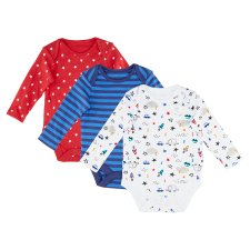 image 2 of F&F Fred & Flo Boy's Star Points with Long Sleeves, 3 pcs in a Pack, Up to 3 Months, Blue