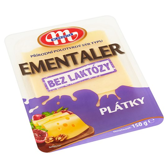 Mlekovita Natural Semi-Hard Cheese of the Ementaler Type without Lactose Slices 150 g