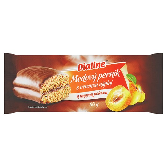 Dialine Honey Gingerbread with Fruit Filling and Dark Glaze 60 g
