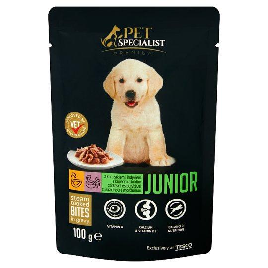Tesco Pet Specialist Premium Junior kúsky s kuracinou a morčacinou 100 g