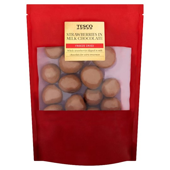 Tesco Lyofilizované jahody v mliečnej čokoláde 150 g