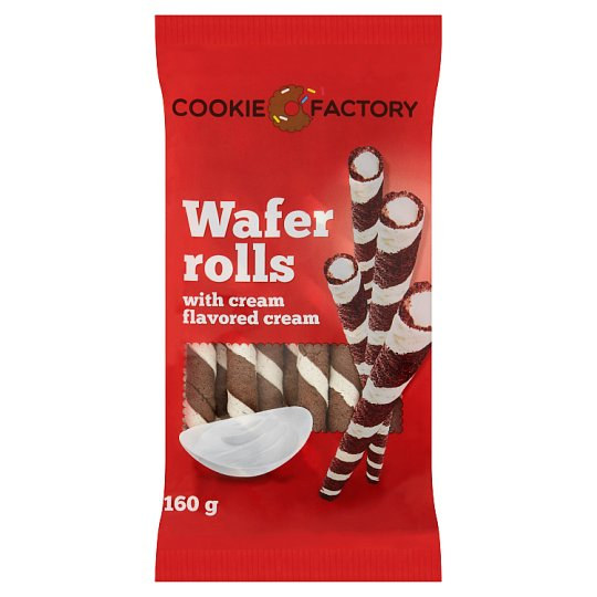 Cookie Factory Wafer Rolls with Cream Flavored Cream 160 g