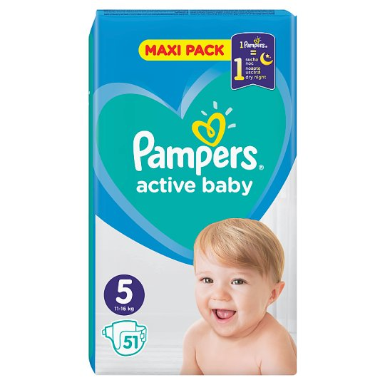 Pampers Active Baby Size 5, 51 Nappies, 11-16 kg