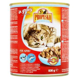 Propesko Kompletné krmivo pre dospelé mačky kúsky s kuracím, lososom a zverinou v omáčke 830 g
