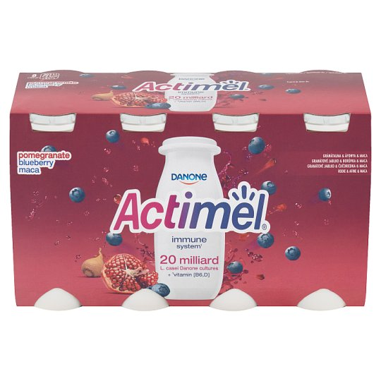 Danone Actimel Yoghurt Milk with Vitamins B6 and D - Blueberries, Pomegranate and Maca 8 x 100 g