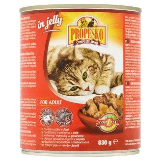 Propesko Kompletné krmivo pre dospelé mačky kúsky s hovädzinou a pečeňou v želé 830 g