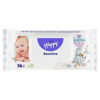 Happy Detské vlhčené utierky sensitive aloe vera 56 ks