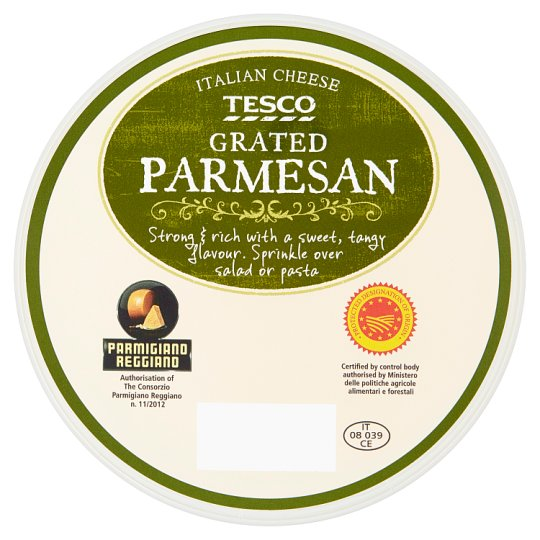 Tesco Parmigiano Reggiano Grated Half-Fat Hard Cheese 100 g