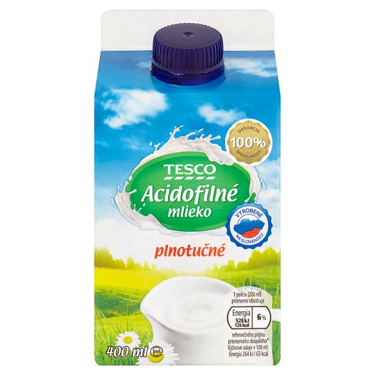 Tesco Acidophilic Whole Milk 400 ml