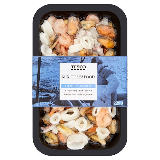 Tesco Mix of Seafood, Glazed, with Added Water, Deep Frozen 225 g
