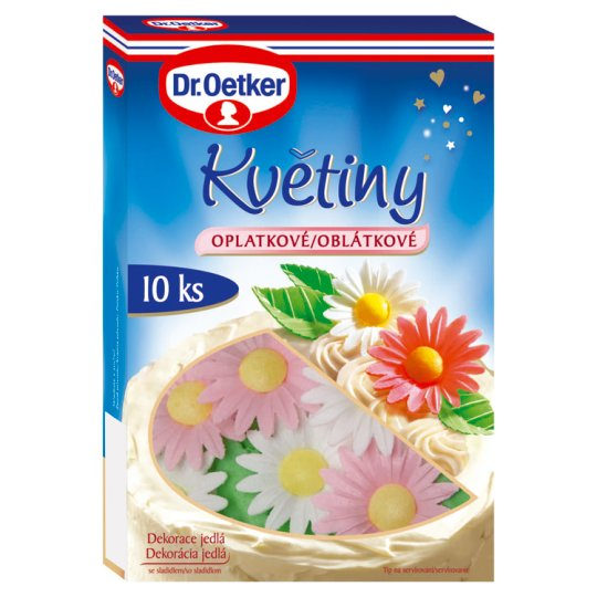 Dr. Oetker Wafer Flowers Decorated Edible with Sweetener 10 pcs 4 g