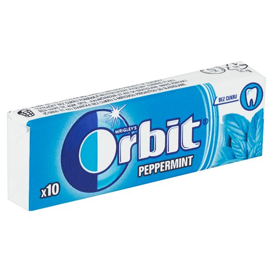 Wrigley's Orbit Peppermint Sugar Free Chewing Gum with Mint Flavour 10 pcs 14 g