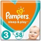 Pampers Sleep & Play, V3, 58 Plienok, 6-10 kg, Pocit Sucha