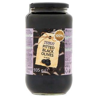 Tesco Čierne vykôstkované olivy v slanom náleve 935 g