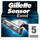 Gillette SensorExcel Náhradné Hlavice Na Strojček, 5 Kusov