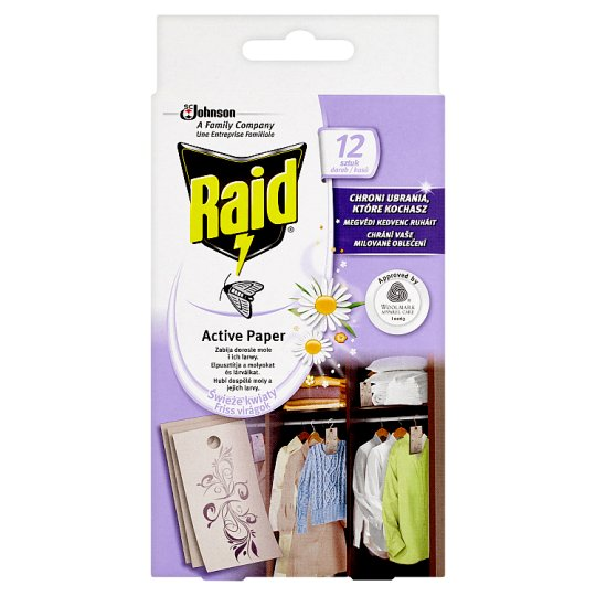 Raid Active Paper Against Moths Hinge Fresh Flowers 12 pcs