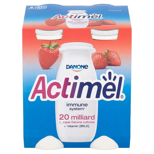 Danone Actimel Yoghurt Milk with Vitamins B6 and D - Strawberry 4 x 100 g