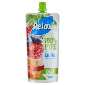 Relax 100% Puree Apple Carrot Banana Raspberry Strawberry Blueberry 120 g