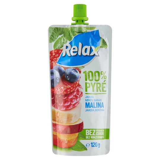 Relax 100% Puree Apple Carrot Banana Raspberry Strawberry Blueberry 120 g