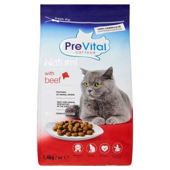 PreVital Naturel Complete Pet Food for Adult Cats with Beef 1.4 kg