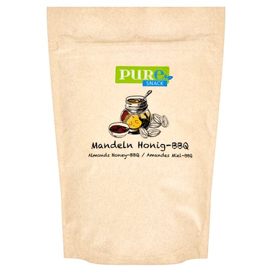 Pure Snack Roasted Slices of Blanched Almond Core with Honey, Salt and Flavour of Barbecue 125 g